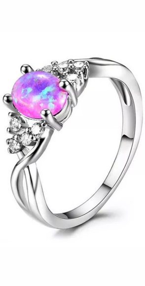 Jewelry - 🎁🆕️ NWT Pink Fire Opal Silver Plated Ring Sz 6